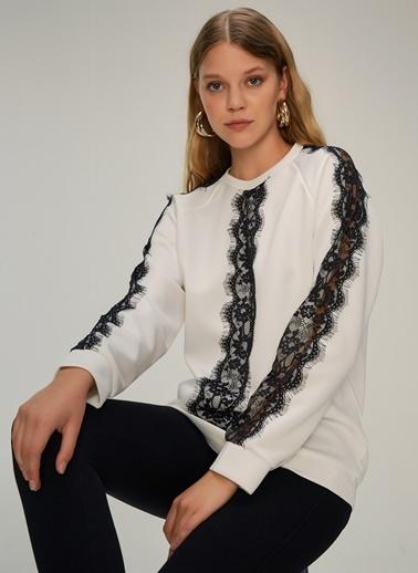 NGSTYLE Dantel Şeritli Scuba Sweatshirt Beyaz